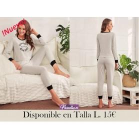 Conjunto de pijama unido en contraste con estampado de slogan