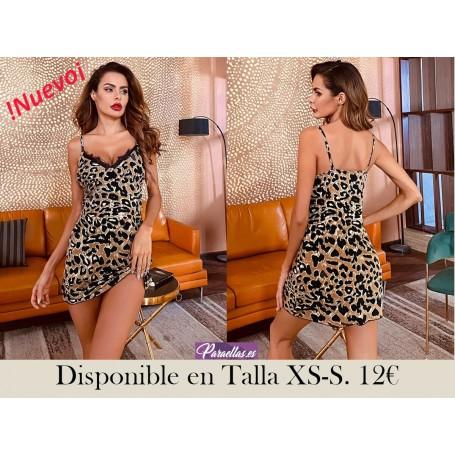 Vestidos para dormir Encaje en contraste Leopardo Sexy