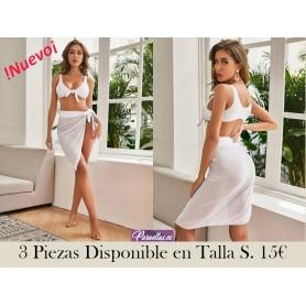 3 piezas bañador bikini con tanga con falda playera