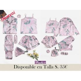 Conjunto de pijama de satén con estampado tropical con grulla 7 piezas