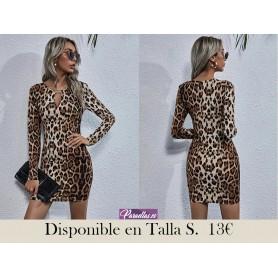 Vestidos Cut-out Leopardo Elegante