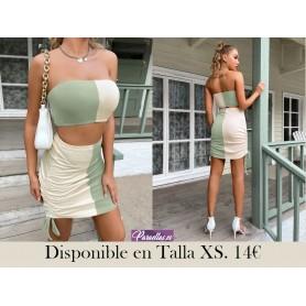 Conjunto top bandeau de dos colores con falda ajustada con nudo con fruncido