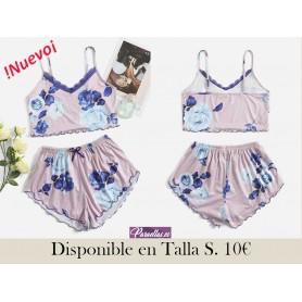 Conjunto de pijama Top de tirantes con estampado floral ribete con encaje ribete en forma de lechuga & Shorts