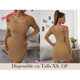Vestido ajustado de un hombro con abertura tejido de canalé